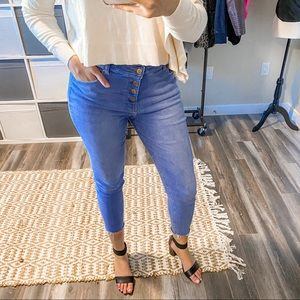 Denim & Co High Rise Skinny Buttoned Jeans Size 12